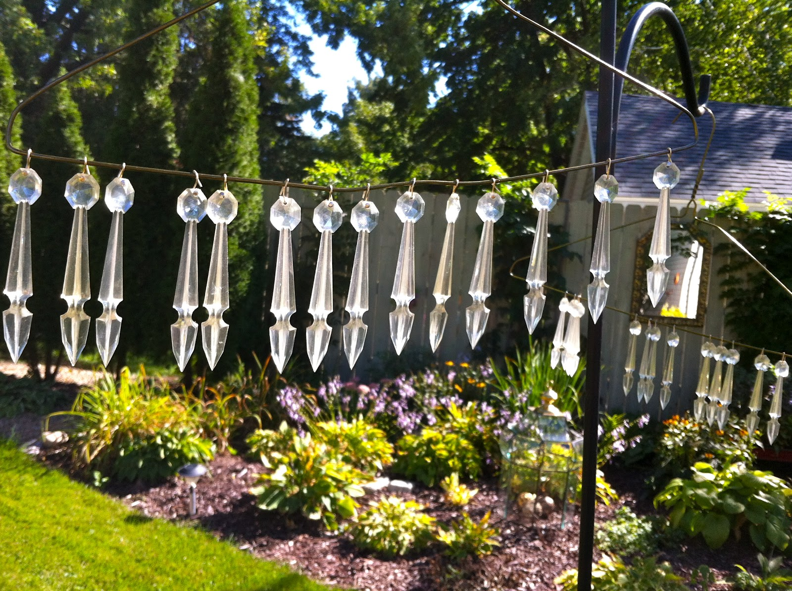 Our Garden Path Hanging Chandelier From Wire Baskets