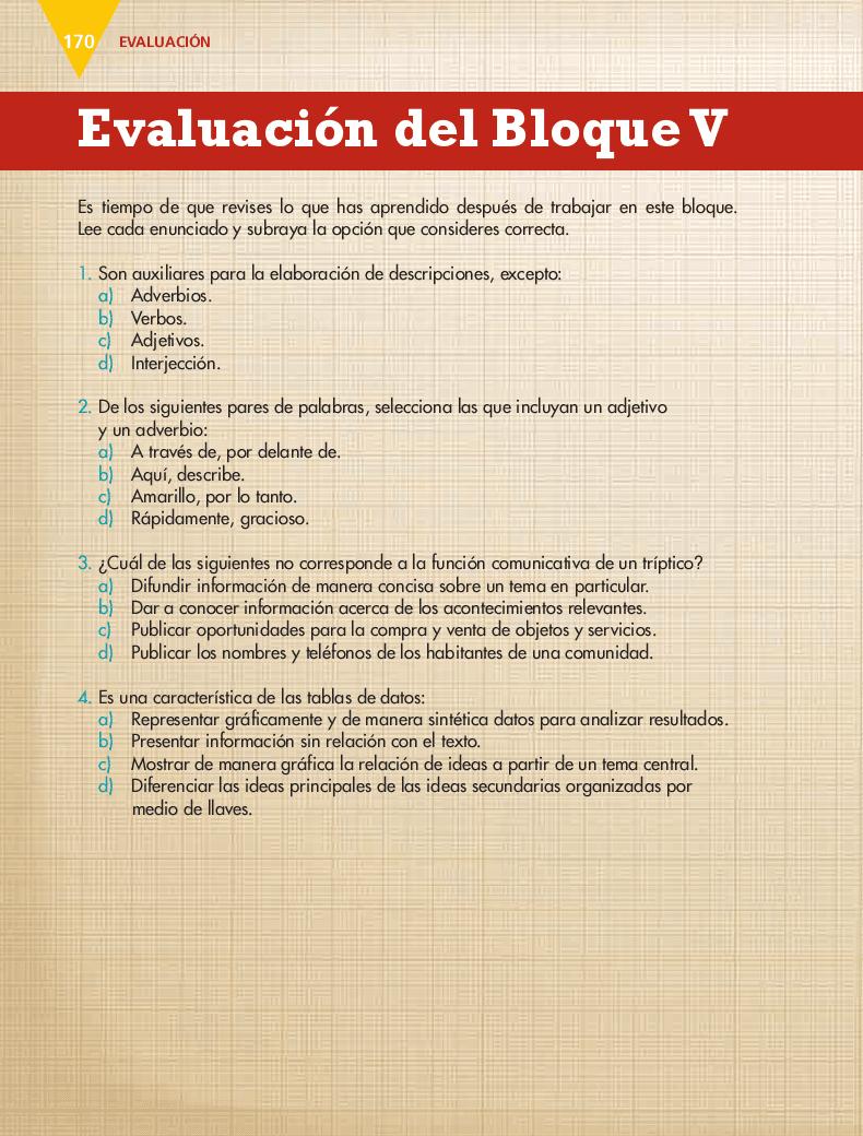 Evaluación del Bloque V - Español 5to Bloque 5 2014-2015
