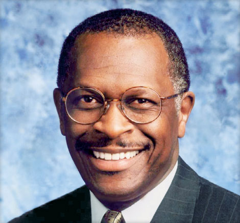 the speaker is herman cain former ceo of godfather s pizze radio talk