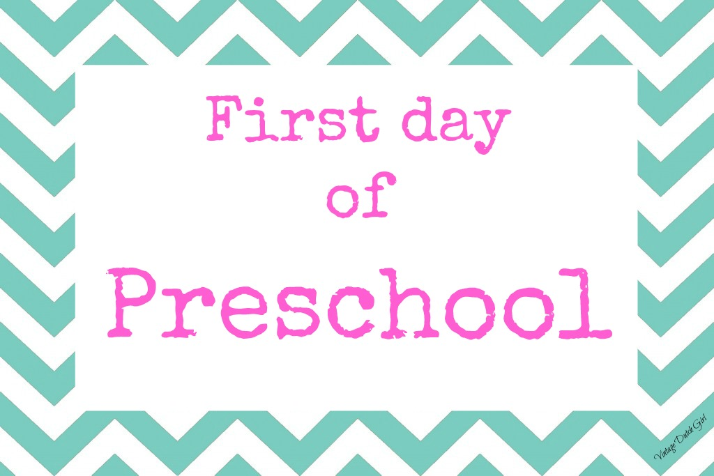This is a picture of Bright First Day of Preschool Printable