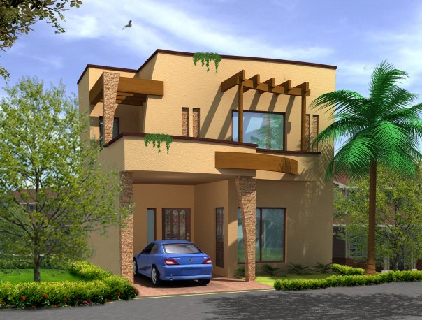 3d Front Elevation Of 5 Marla Houses : Marla house d elevation pic pk joy studio design