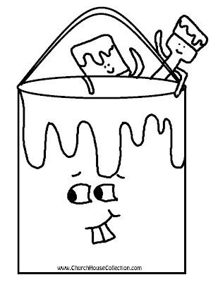 Paint Brush and Bucket Coloring Page
