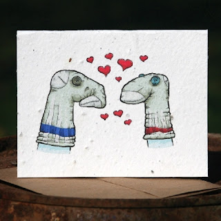 Plantable Greeting Card Sock Puppets in Love  by Gracies_Garden