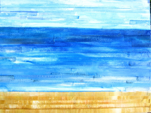 mixed media scrappy sea scene