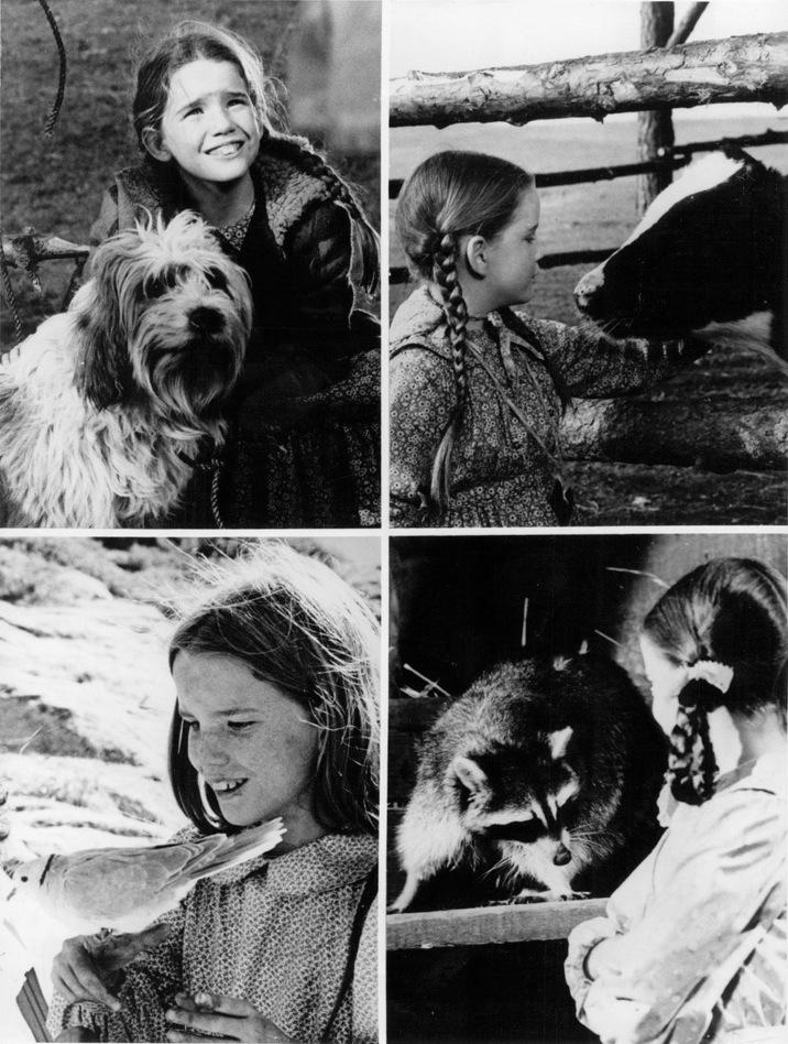 4 fotogramas con las niñas de La casa de la Pradera