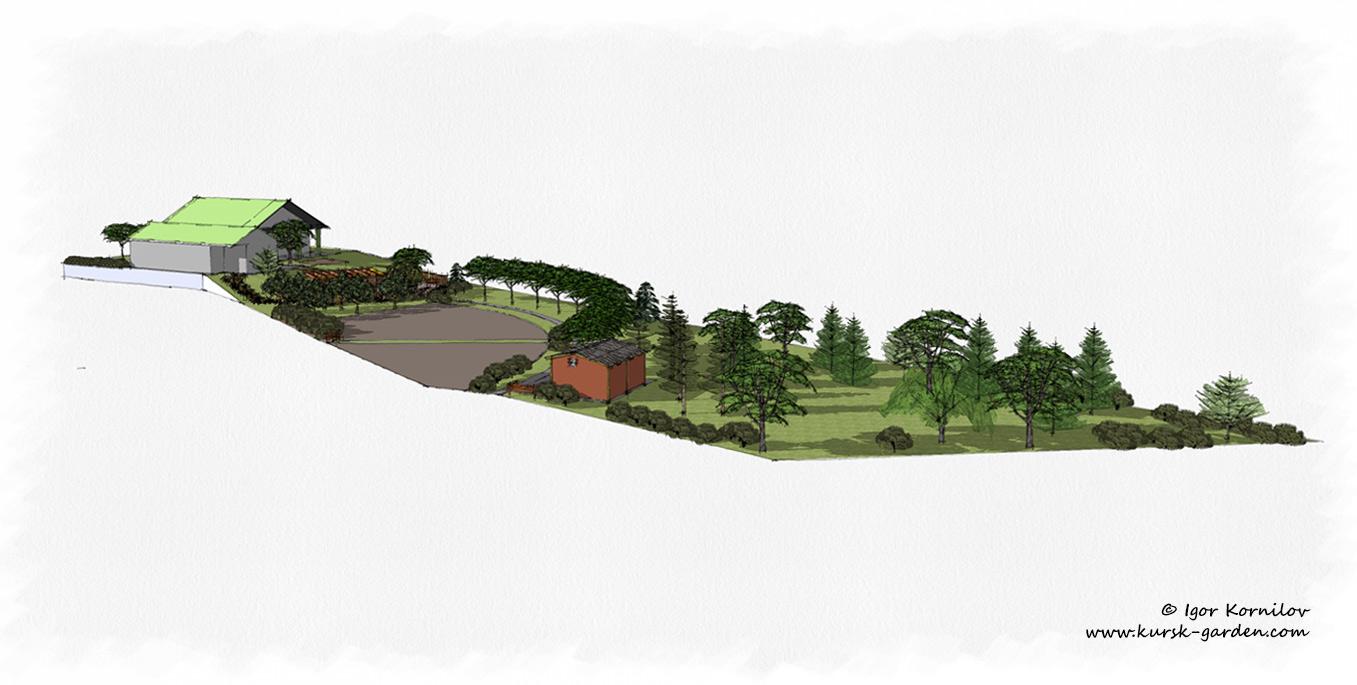 Эскизы сада (ландшафтный проект в 3D)