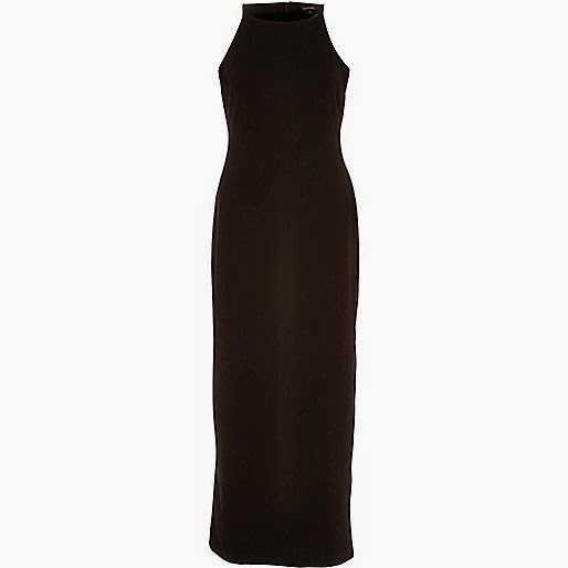 river island black long cami dress, black dress with thigh split,