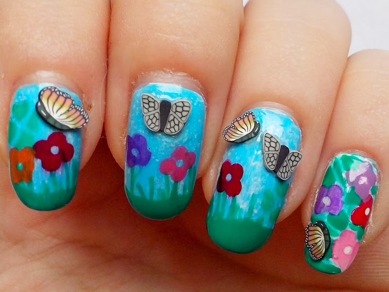 31DC2014 Day 14: FLOWERS butterflies Nails