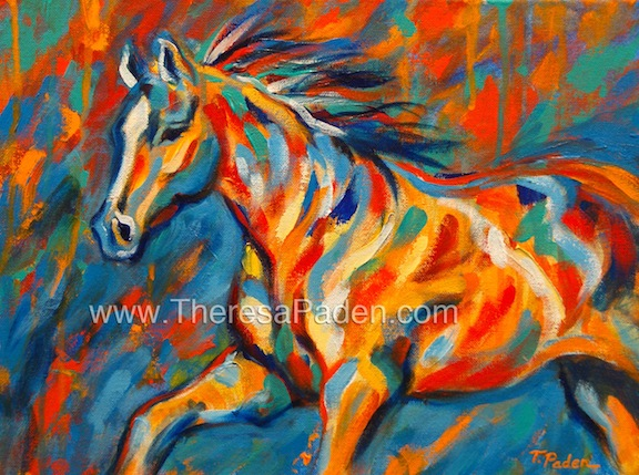Abstract Horses: Expressionistic Horse Painting in Bright ...