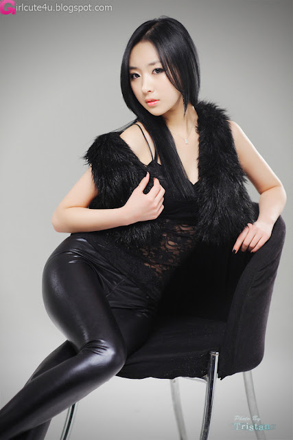 4 Sexy Minah - Black Leather Pants-very cute asian girl-girlcute4u.blogspot.com