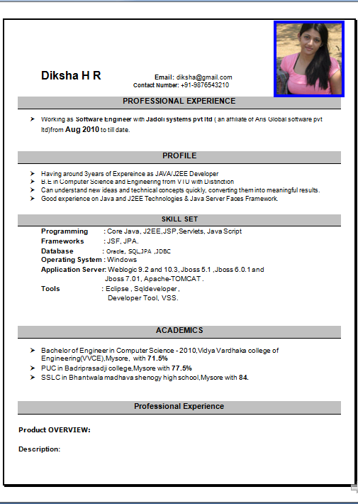 sample of cv format