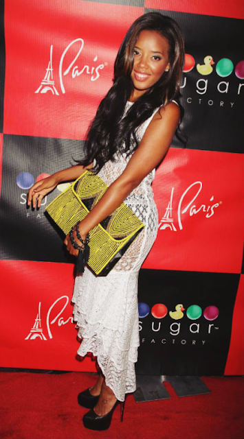 Angela Simmons with Virgo's Lounge clutch - iloveankara.blogspot.co.uk
