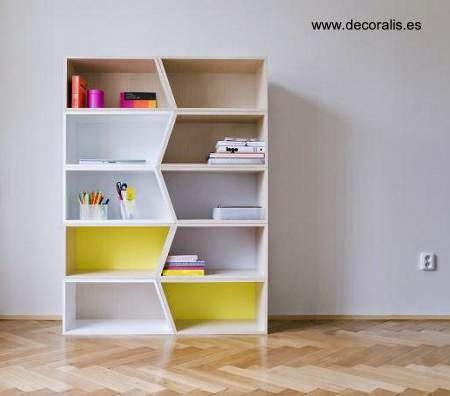 Estantería biblioteca moderna de madera