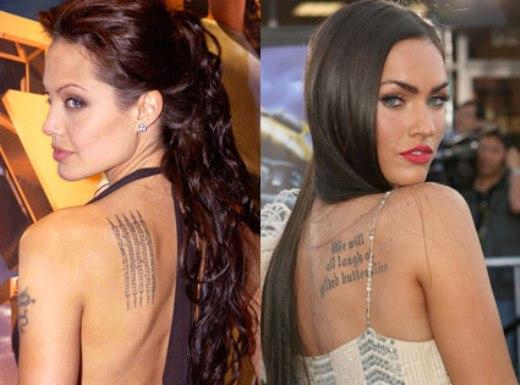 Tatuagem feminina - Angelina Jolie e Megan Fox
