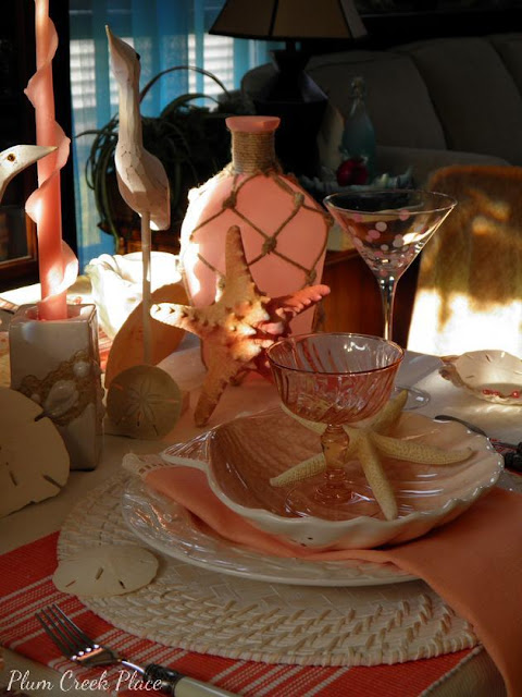Plum Creek Place - Coral Sunrise Tablescape.