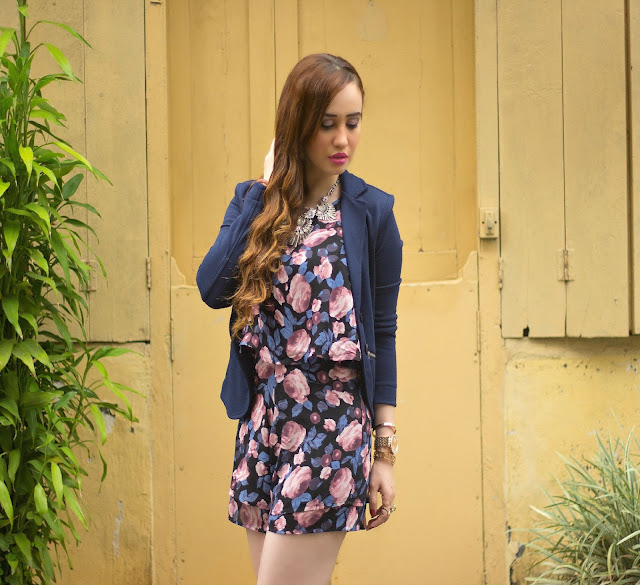 NLY Floral Printed Playsuit, Romper, Navy Blue Blazer, Mirrored Sunglasses