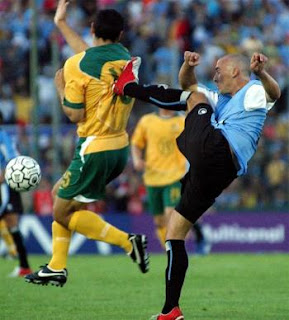 funny picture karate kick from behind during football match
