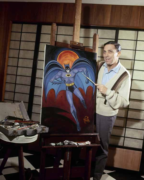 rare photographs of batman artist bob kane with bat