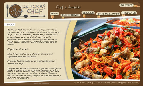 sitio web de Delicious Chef (chef a domicilio para veladas, eventos, aniversarios, celebraciones, momentos especiales...)
