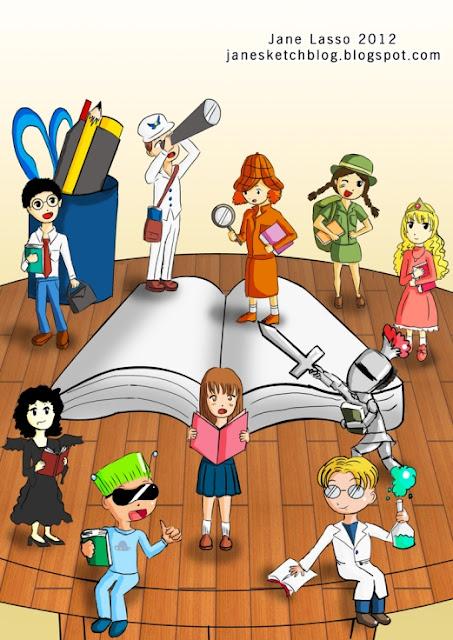 Ilustración para el Día del libro hecha por Jane Lasso.