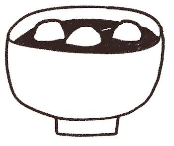 お汁粉のイラスト 線画