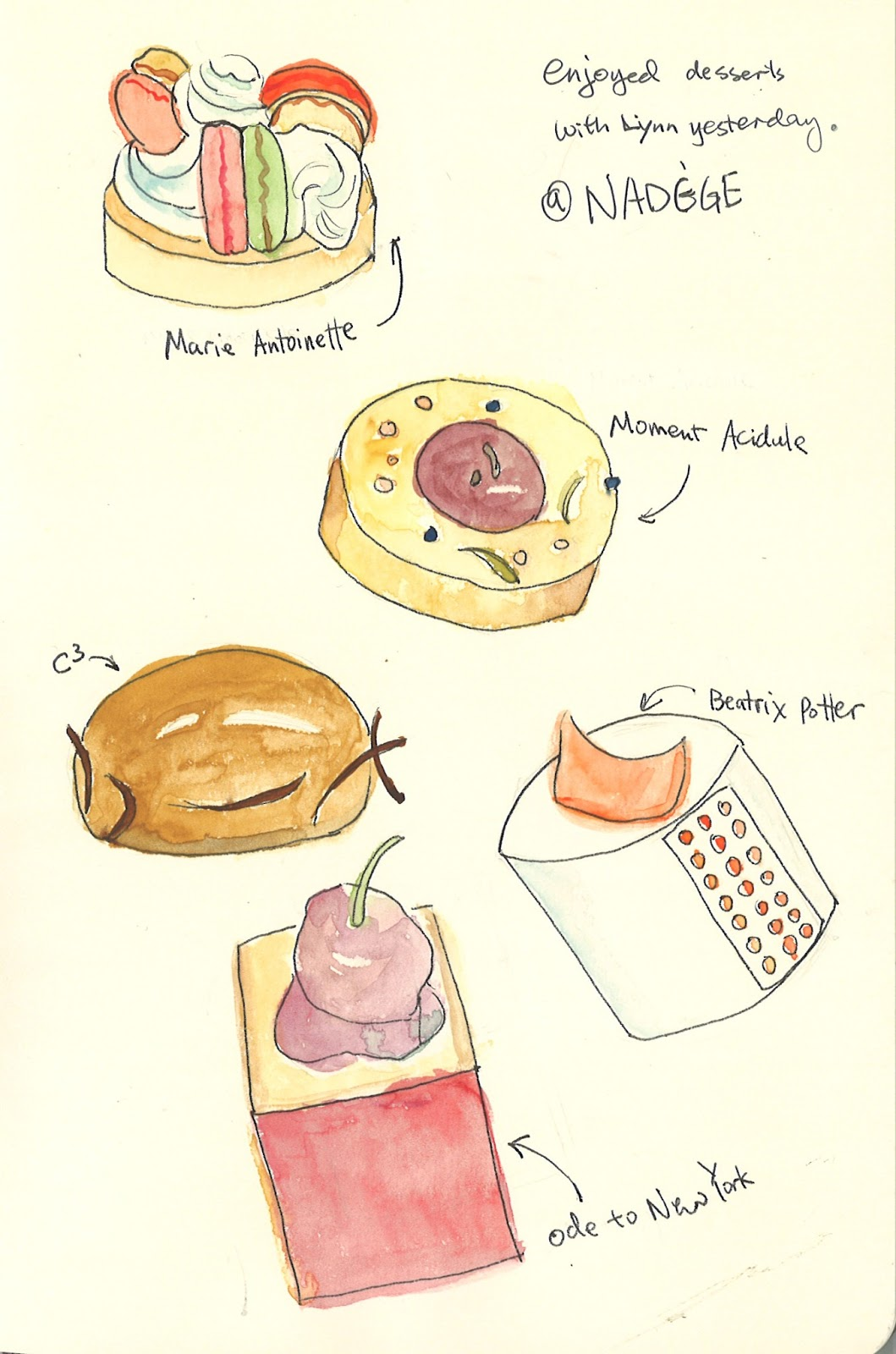 French Pastry Drawing Litte Cute French Pastry