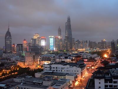 Shanghai skyline from Yu Garden Renaissance Hotel in Shanghai