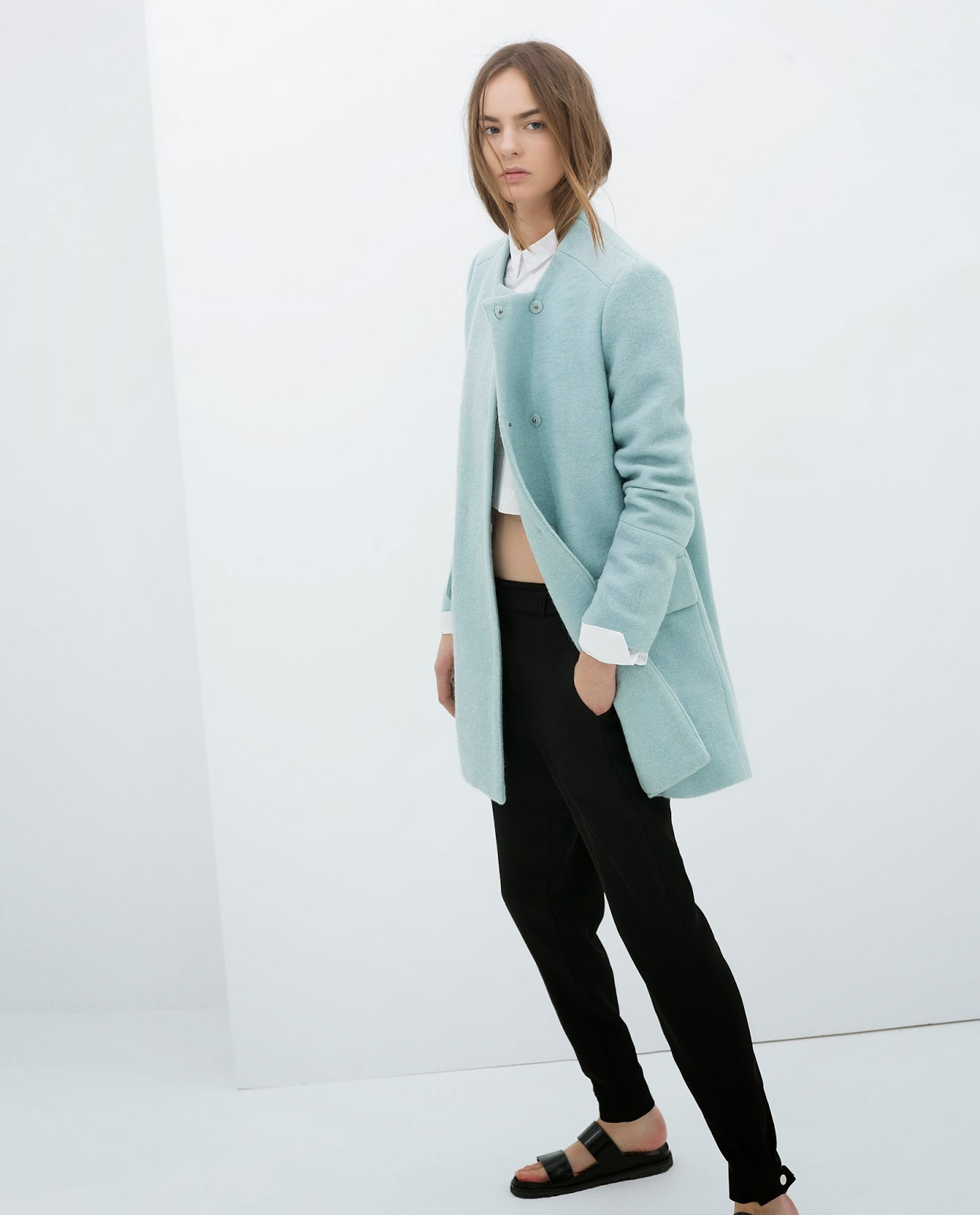 zara pale blue coat