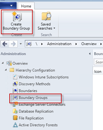 how to create a boundary group from directory group sccm