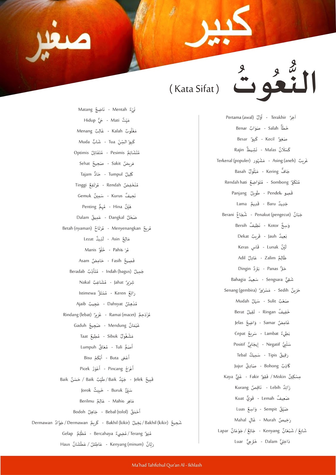Brosur Mufrodat Kosa Kata Bahasa Arab Sehari Hari Website Resmi Ma