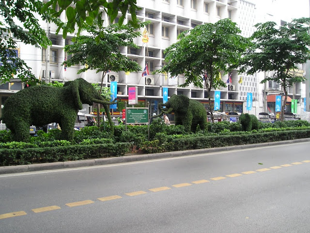 Elephants alike from plants cutting on streets in Bangkok, Thailand