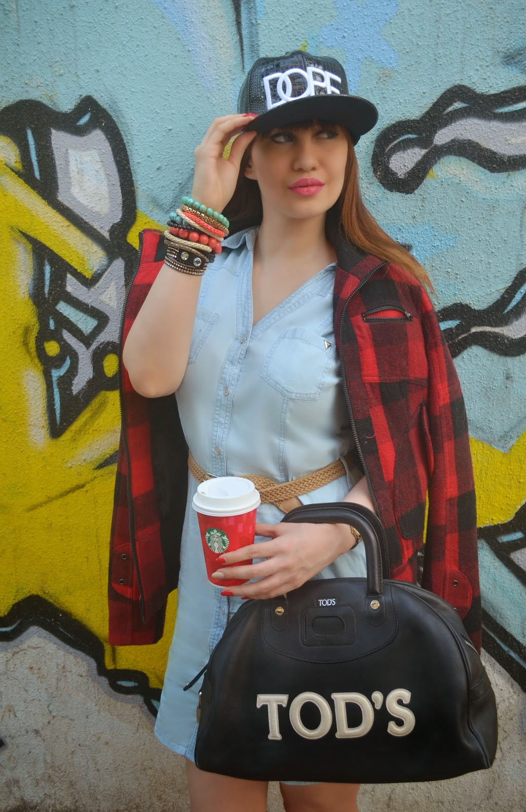 Plaid Jacket worn over a denim dress with a TODS bag and Dope Cap