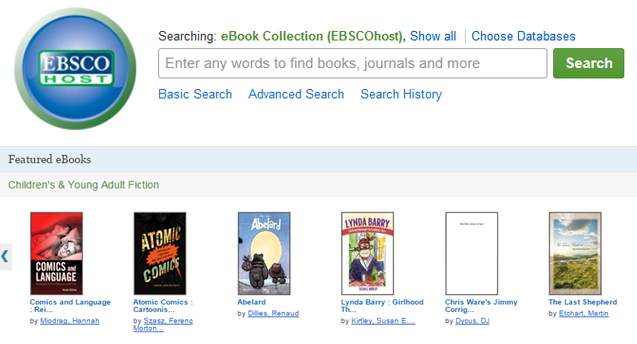 screen shot of web interface for EBSCO EBook collection