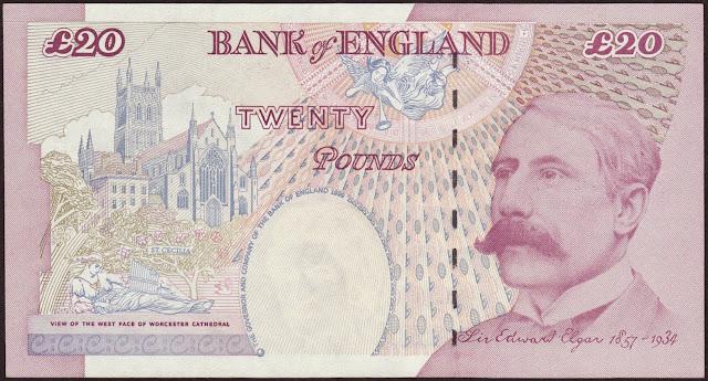 British Banknotes 20 Pound Sterling note 1999 Sir Edward Elgar