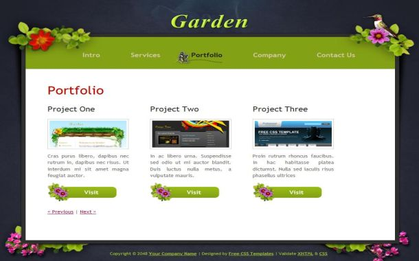 Vector Grunge Garden Css Template Download