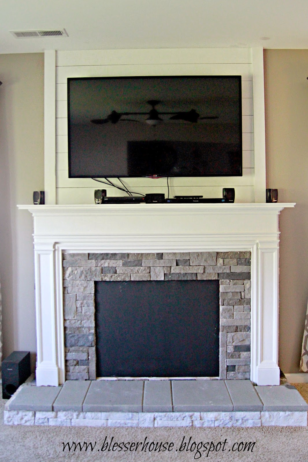 Diy faux fireplace entertainment center part 3 bless 39 er for Faux marble fireplace mantels