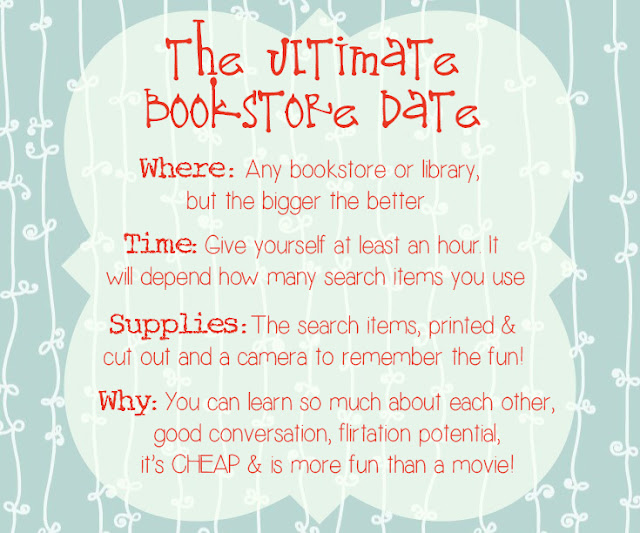 bookstore date, date ideas, cheap date ideas, bookstore scavenger hunt