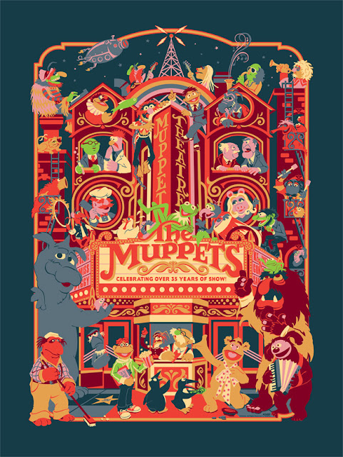 "Dark Ink Art - Neon Night Variant ""Muppet Theatre"" Screen Print by James V. Carroll"