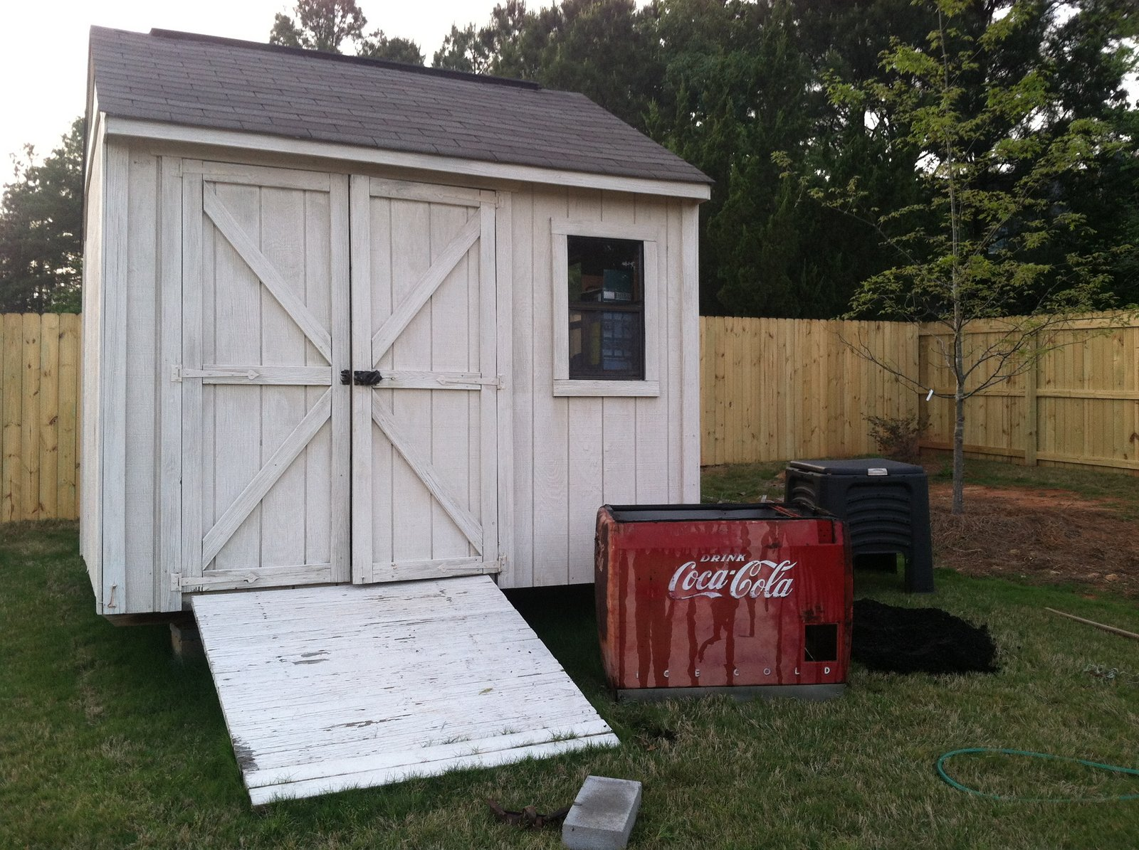 here is the cooler box positioned in front of my little storage shed