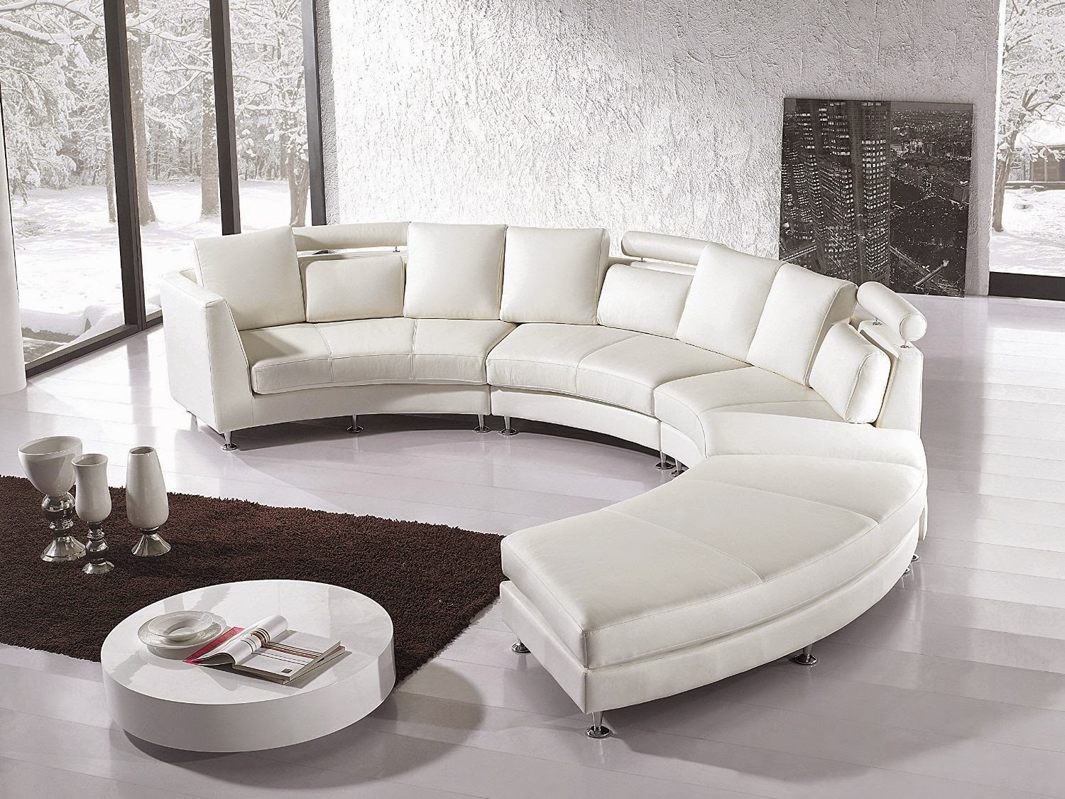 Curved sofas and loveseats reviews curved sofa leather for Contemporary leather furniture