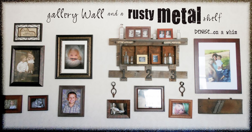 Family gallery wall and a rusty metal shelf via http://deniseonawhim.blogspot.com