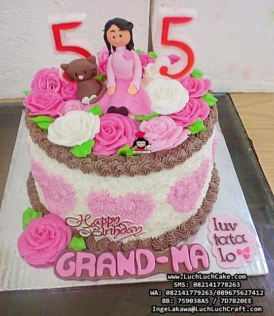 Kue Tart Bunga-Bunga Pink Untuk Ibu Daerah Surabaya - Sidoarjo