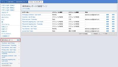 保存済みレポート管理画面 表示例