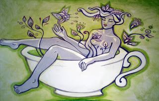 Bohemia TeaHouse, ceainarie, ceai, cafea, design, painting, pictura, fata in ceai,  http://wheretohavecoffee.blogspot.com