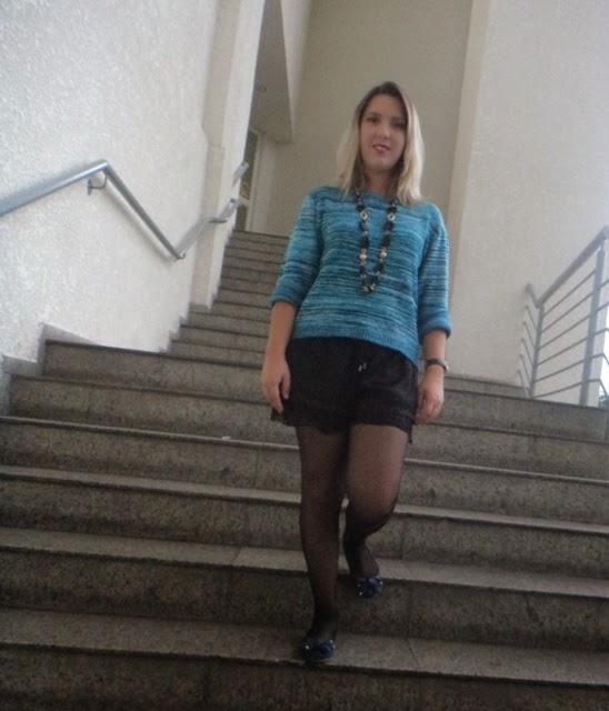 Look Outono - Shorts e Meia Calça