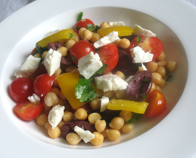 Chickpea, Olive and Feta Salad with Chat Masala Dressing
