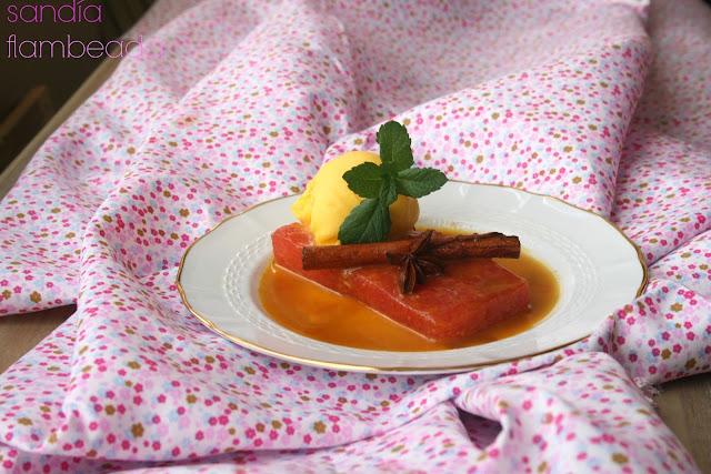 sandía, salsa de cítricos, sorbete de mandarina
