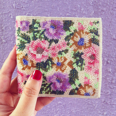 vintage floral beaded leather wallet