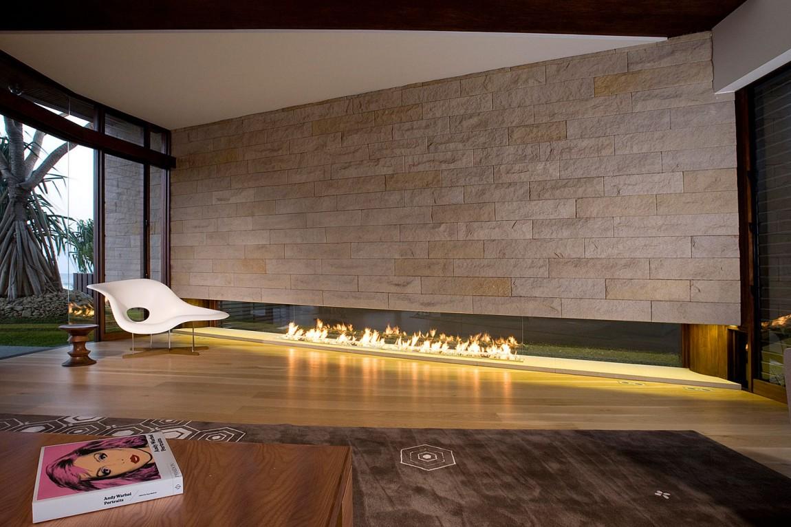 wohnzimmer ofen ethanol:Modern Stone Fireplace Design Ideas