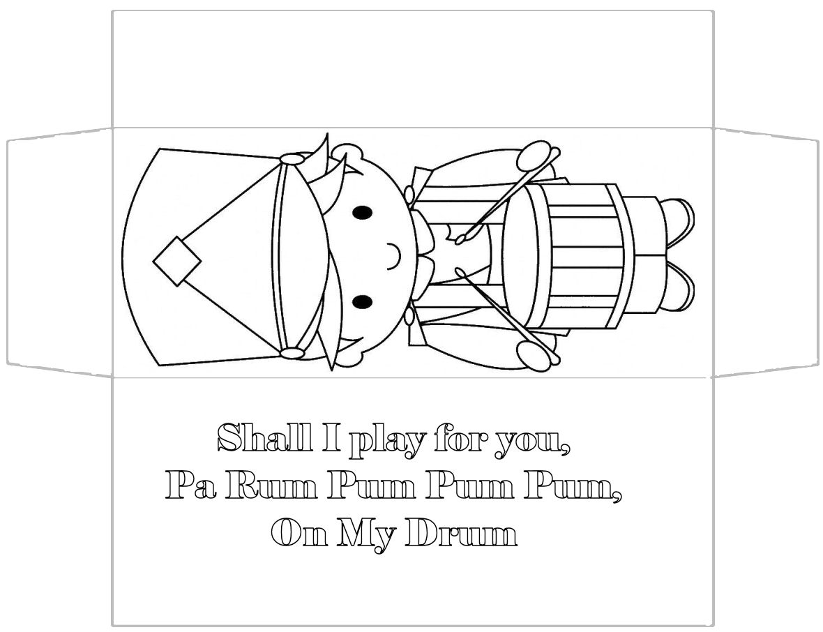 little drummer boy coloring page - this is a candy bar box this one can be colored by the